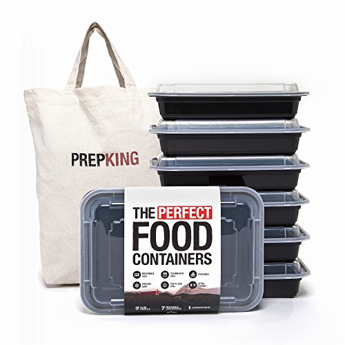 Food Grade Meal Prep Containers - Cotton Tote Bag - BPA-Free - Tight Lock Seal - Microwave & Freezer Safe - 1-Compartment, 7 Pack, 28oz (Low Profile Built In Microwave compare prices)