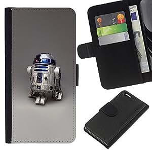 KLONGSHOP // Tirón de la caja Cartera de cuero con ranuras para tarjetas - Robot R2D2 - Apple Iphone 5C //