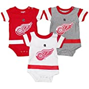 Detroit Red Wings Baby / Infant Hockey Jersey Style 3 Piece Creeper Set 12 Months