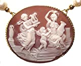 Cameo Necklace Fresh Water Pearls Sterling Silver 18k Gold Overlay Italian 18 to 20 Inches