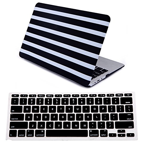 White Stripes Protector Case - HDE Plastic Hard Shell Case and Keyboard Cover for MacBook Air 11 Inch (Models: A1370/A1465), Black and White Stripes