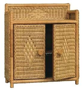 Wicker Bathroom Wall Medicine 2 Doors 1 Shelf Cabinet In Honey Stain Home Kitchen