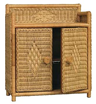 Genial Wicker Bathroom Wall Medicine 2 Doors 1 Shelf Cabinet In Honey Stain