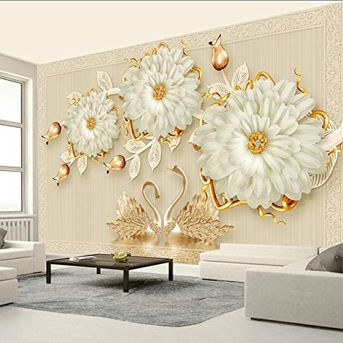 Dalxsh European Style Luxury 3D Jewelry Flowers Swan Mural Wallpaper Living Room Tv Sofa Background Wall Covering Decor Papel De Parede-150X120Cm
