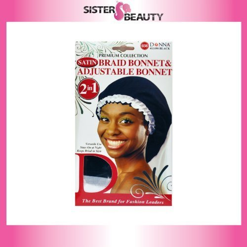 (Donna Collection Donna Premium Collection 2in1 Satin Braid Bonnet & Adjustable Bonnet - Black Color)