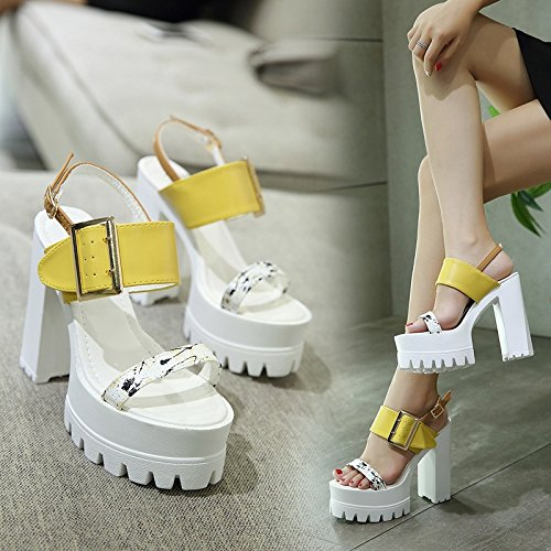 de de tacón RUGAI tacón UE Sandalias espeso sandalias verano irregular de sandalias damas grueso y yellow de 4qE8S8