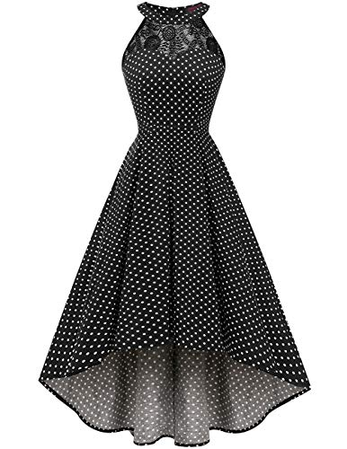 DRESSTELLS Women's Vintage 50's Bridesmaid Halter Floral Lace Cocktail Prom Party Hi-Lo Dress Black Small White Dot XS