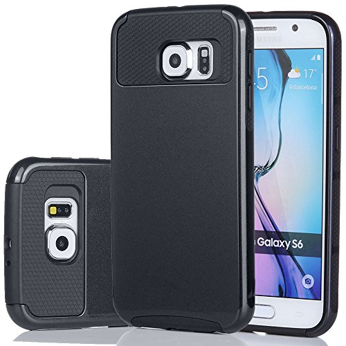 S6 Case,LumsingTM Heavy Duty Rugged Shockproof Armor Holster Defender Slim Protective Hard Soft Rubber Bumper Case Cover For Samsung Galaxy S6 With Screen Protector Set (Black/Black)
