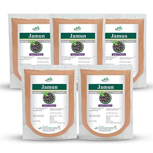 Jain's Pure Jamun Powder - 50 Gram (Pack of 5) - Indian Ayurveda's Pure Natural Herbal Supplement Powder