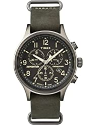 Timex Mens TW4B04100 Expedition Scout Analog Chronograph Dark Khaki Indiglo  Leather Watch
