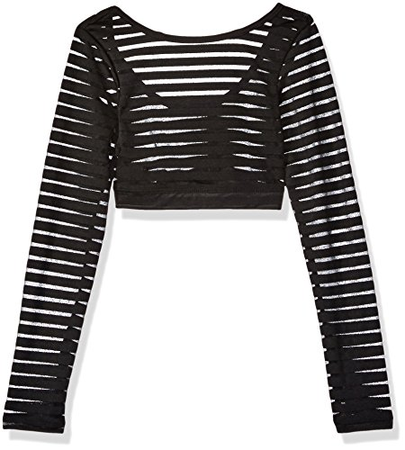 Gia Mia Dance Big Girls' Stripe Mesh Top Dance Ballet Jazz Long Sleeve Layering Costume Performance, Black, (Dance Costumes Dancewear For Sale)