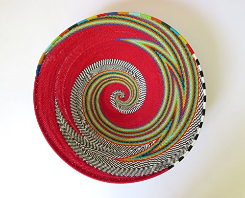 African Zulu woven telephone wire bowl – Large shallow bowl - Red and multicolour - Gift from Africa