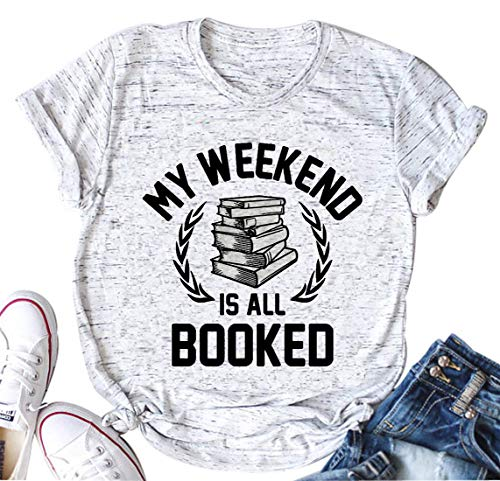 My Weekend is All Booked T Shirt Women Funny Cute Book Reader Reading O-Neck Tee (XX-Large)