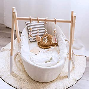 Let's Make Wood Baby Gym with 4 Wooden Baby Teething Toys Foldable Baby Play Gym Frame Activity Gym Hanging Bar Newborn…