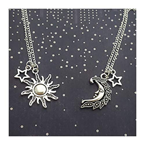 MIXIA Vintage Crescent Moon Face and Sun Star Necklace Choker Necklace Pendant Jewelry Set ()