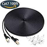 Ethernet cable 100 ft, Cat7 Slim Long Network Cable with Shielded Rj45 snagless connectors, Fast LAN Network Patch Cord Faster than Cat6, for Xbox 360,PS4, Ip cameras, Adapter Black (30 Meters)