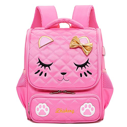Moonmo Cute Cat Face Pink Kitty Waterproof School Backpack Girls Book Bag (Large, Pink)