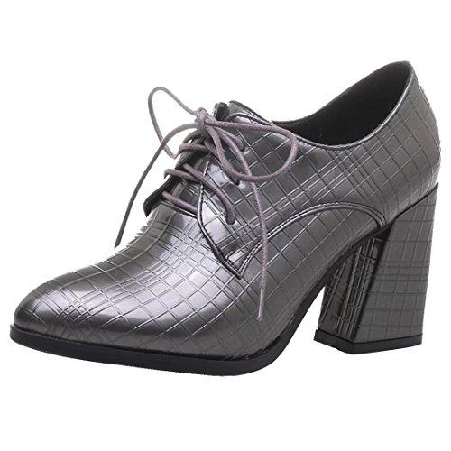 Schuhe Grau 8cm Damen Heels Blockabsatz und mit High Absatz Pumps Schnürung AIYOUMEI w4qvOv