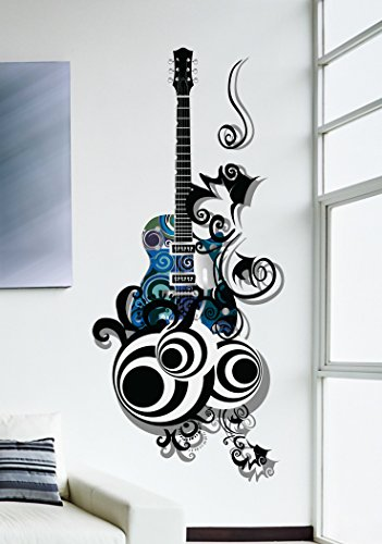 Decals Design Guitar Passion PVC Vinyl Wall Decal (70 cm x 50 cm x 70 cm, Multicolour)