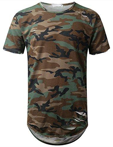 URBANCREWS Mens Hipster Hip Hop Camo Short Sleeve Ripped T-shirt CAMO XXLARGE