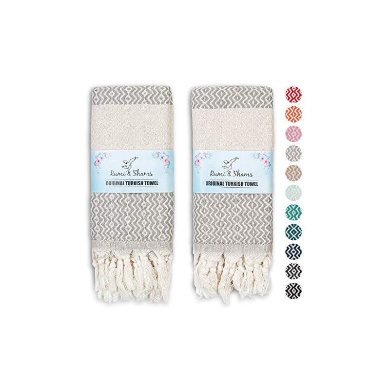 RUMI & SHAMS Turkish Hand Towels for Bathroom | 100% Cotton Farmhouse Hand Towels | 2 Pcs Decorative Towels for Bathroom…