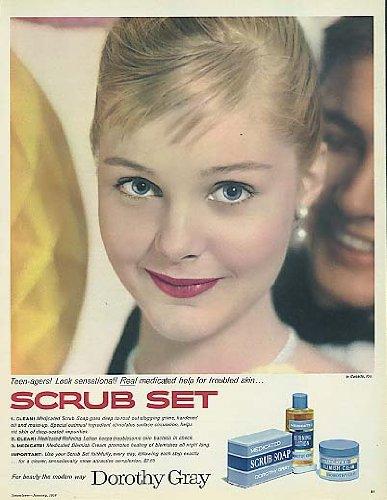 Carol Lynley for Dorothy Gray Scrub Set Soap Lotion & Cream ad ()