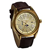JewelryWe Men's Analog Dial Quartz Watch Gold Tone Water Resistant Multifunctional IP Plated Leather Strap Wristwatch with Roman Numerals