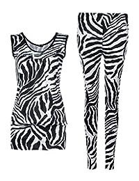 Girls Walk Womens Sleeveless Zebra Print Top Leggings 2 Piece Set