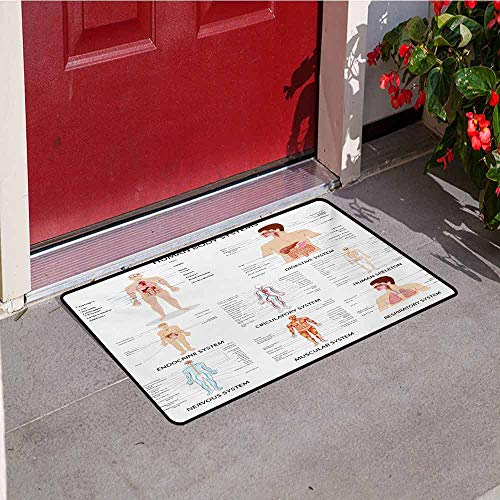 Jinguizi Human Anatomy Commercial Grade Entrance mat Complete Chart of Different Organ Body Structures Cell Life Medical Illustration for entrances garages patios W29.5 x L39.4 Inch Multi