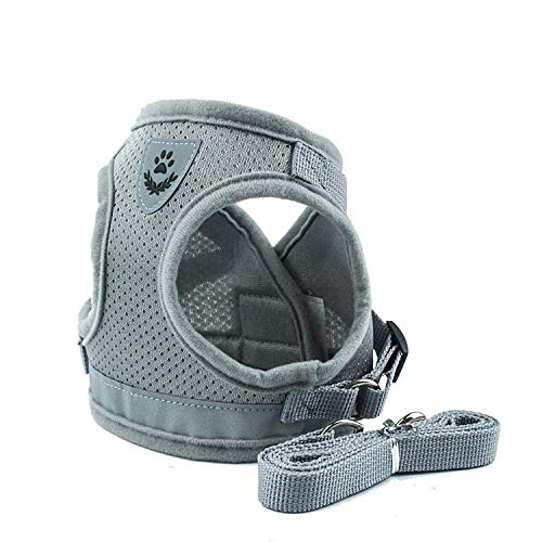 Manava Pet Harness with Leash Set, Adjustable Soft Mesh Reflective Pet Harnesses, Escape Proof Mesh Puppy Harnesses,Suitable for Cat, Kittens, Puppies, Small Dogs, Pets (L, Grey)