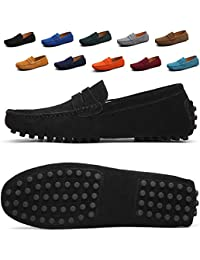 Men's Loafers Suede Leather Slip on Driving Shoes Moccasins Flat Dress Shoes