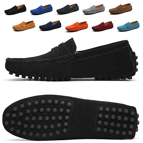 (black leather slip on snea Men Penny Loafers Slip on Shoes Suede Leather Moccasins Driver Driving Shoes Fashion Office Business Casual Dress Shoes Plus Big Size Sneakers Black Size 8.5 (2088-Black-42))