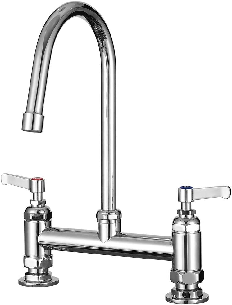 IMLEZON Commercial Sink Faucets 8 Inch Center Deck Mount Kitchen Commercial Faucet with 6 Inch Goose Neck Swivel Spout