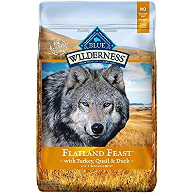 Blue Buffalo Wilderness Flatland Feast High Protein Grain Free, Natural Dry Dog Food with Turkey, Quail & Duck