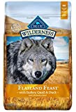 Blue Buffalo Wilderness Flatland Feast High Protein Grain Free, Natural Dry Dog Food with Turkey, Quail & Duck 22-lb For Sale