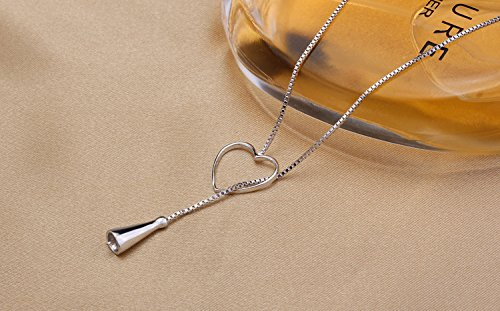 usongs DIY silver pearl accessories half 925 Silver Gold Platinum heart-shaped silver necklace pendant accessories love
