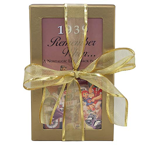 80th Birthday Gift Basket Box - Live Your Life - with 1939 Trivia Booklet (Birthday 80th Basket Gift)
