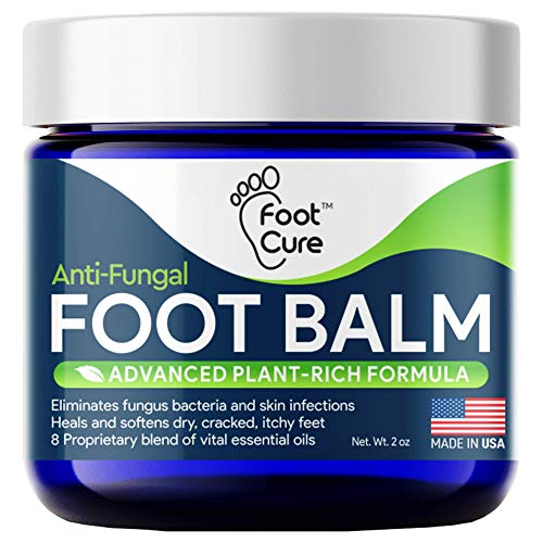 Foot Cure All-Natural Foot Balm - Moisturizing Foot Care Cream For Dry Skin, Cracked Heels & Callus Removal - Strong Antifungal Action For Itchiness, Toe Nail Infections & Athlete's Foot - Made In USA