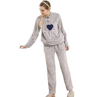 a97c6f18ff5ed6 GWELL Damen Warm Weich Fleece Pyjama Schlafanzug Set Zweiteiliger Langarm  Hausanzug Winter Nachtwäsche grau 2XL