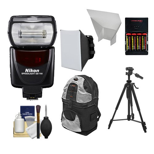 Nikon SB-700 AF Speedlight Flash with Tripod + Softbox + Bounce Reflector + Batteries & Charger + Backpack + Cleaning Kit.