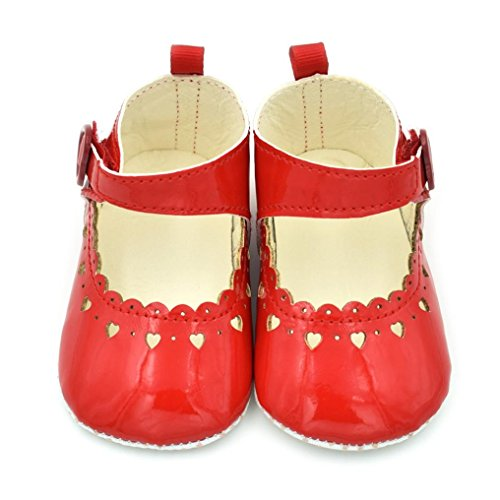 Tefamore Zapatos para bebés Fringe Soft Soled Slip Calzado Zapatos Hollow Love Shoes Rojo