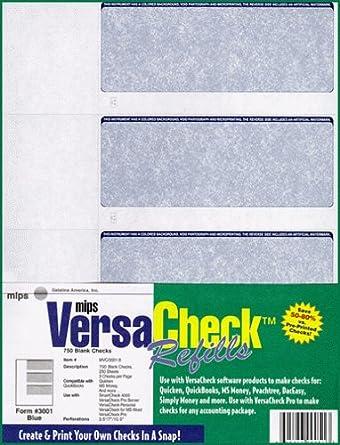 Amazon.com: 750-Checks Blue Blank Checks for Versacheck Personal ...