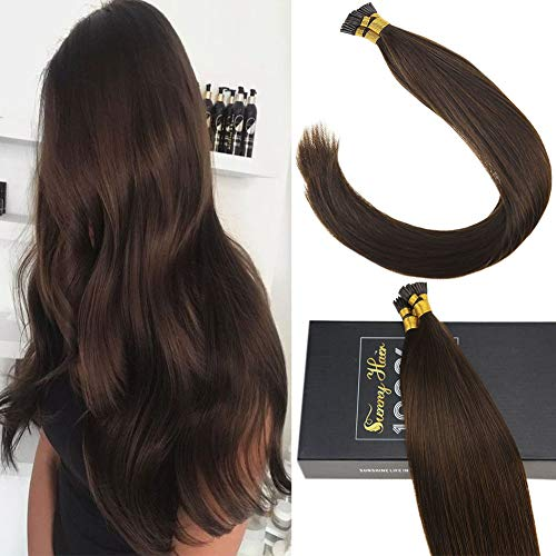 Sunny Medium Brown Color #4 Pre bonded Human Hair Extensions Remy Silky Straight I Tip Fusion Human Hair 24Inch 50Strands Total 50g/pack