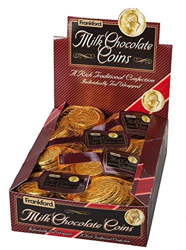 Chocolate Gold Coins Bulk - Frankford Candy Company Milk Chocolate Gold Coins Mesh Bag, Milk Chocolate, 1.23 Ounce (Pack of 12)