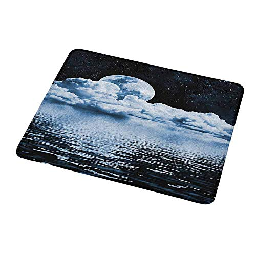 Portable Mouse pad Custom Moon,The Moon Setting Over Clouds Water Reflections Stars Universe Themed Image Print,Black Blue White,Non-Slip Rubber Mousepad 9.8