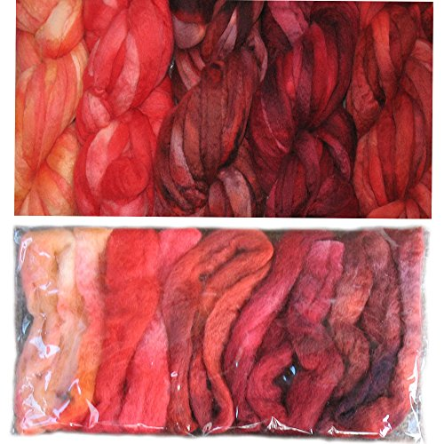 Needle Felting Wool Roving. BFL Wool Pencil Roving Fiber for Felting, Spinning, Weaving, Dryer Balls, Soap Making and Embellishments. Variegated Colors Hand Dyed in USA by Living Dreams. Fire (Dyed Balls)
