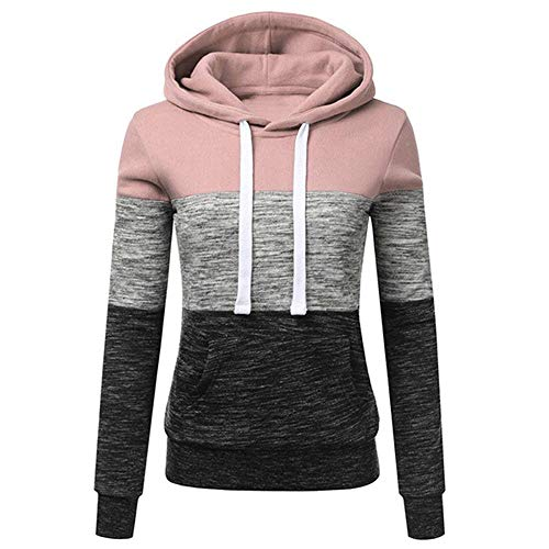 Womens Casual Hoodies Sweatshirt Comfy Striped Color Block Long Sleeve Hooded Tops Jumper Pullover with Pockets (Pink,Medium)