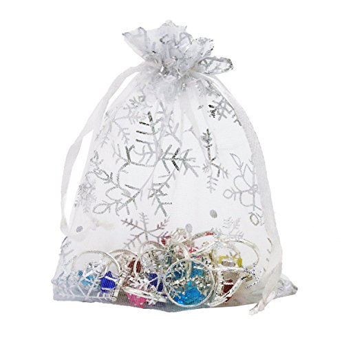 w White Organza Gift Bags with Drawstring Party Wedding Favor Gift Bags Candy Jewelry Bags (Snow White 100 pcs, 3.54x4.72