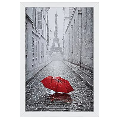 ONE WALL Tempered Glass 11x17 Poster Frame White, Wood Photo Picture Frame - Wall Mounting Hardware Included - 【Modern Style】Understated white selected pinewood frame perfectly match any pieces of photos and prints. It also comes with a fine picture print of Red Umbrella in Paris. 【Suitable for 11x17 Photo】ONE WALL white picture frame fits 11x17 inch photo without mat. The easy-open tabs on the back enable you to load your photos, prints quickly. 【Vertical & Horizontal Display】The pre-installed hanging hardware supports both vertical and horizontal wall display. Besides, the attached bubble level and seamless nail make wall hanging much easier. - picture-frames, bedroom-decor, bedroom - 510HY900GuL. SS400  -