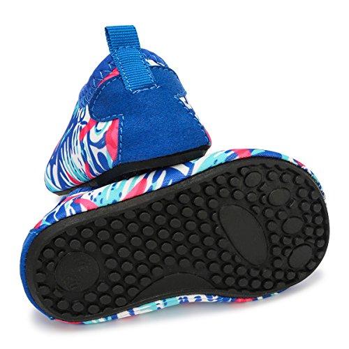 JIASUQI Baby Barefoot Swim Sports Water Skin Shoes Aqua Socks For Beach Swim Pool,Blue White 0-6 Months